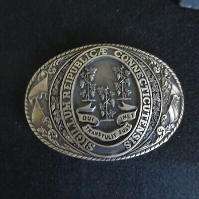 "Tony Lama Solid Brass 3 3/4"" Belt Buckle State Series Connecticut 1st EDITION"