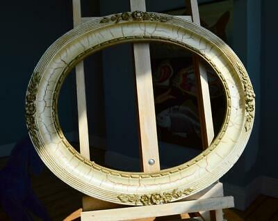 "SUPERB VINTAGE GILT/IVORY OVAL PICTURE FRAME 17"" X 14"" REBATE v FRENCH COMPOSITE"