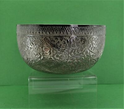 antique Chinese Asian sterling silver Bowl Buddha & flower Detail chop mark