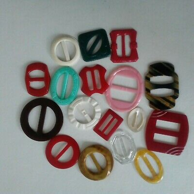 Vintage Celluloid Belt Buckles Assorted Colors and Styles