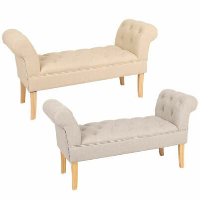 Wido LINEN END OF BED CHAISE LONGUE SOFA ARMCHAIR SEAT CHAIR LOUNGE CREAM/GREY