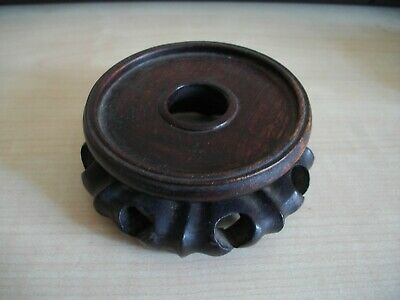 A Small Antique Carved Wooden Vase / Pot / Bottle Stand
