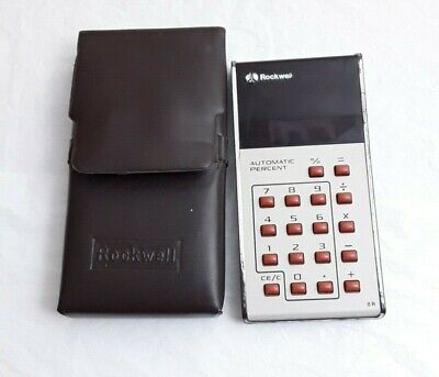 Rockwell Electronic Calculator 8R Vintage 1975 Working case