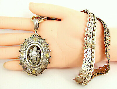Beautiful Antique VICTORIAN Sterling Silver & 9ct Gold LOCKET & COLLAR 1882
