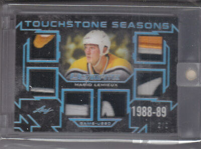 2018-19 Leaf Ultimate Touchtone Seasons Game Used Relic 6 Way  Mario Lemieux 2/2