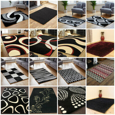 Modern Small Large Runner Sheep Skin Wool Shaggy Black Grey Clearance Sale Rugs