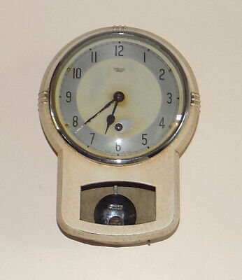 1950s SMITHS ENFIELD 8 DAY KITCHEN WALL CLOCK WITH METAL CASE - ALL COMPLETE