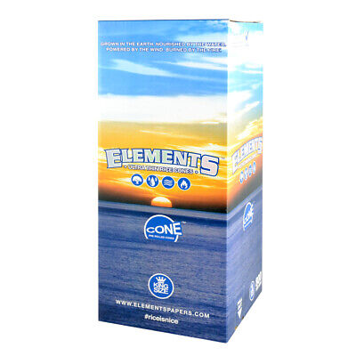800pc Box - Elements Rice Pre-Rolled Cones - Kingsize