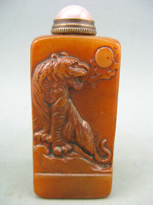 Antique Chinese Old Shoushan stone Hand Carved Tiger Seal&Snuff Bottle