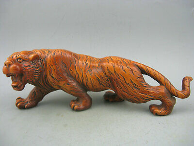 Antique Old Chinese Boxwood Hand Carved Big Tiger Netsuke Statue L 7inch