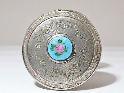Vintage Silver Guilloche Enamel Rose Mirrored Powder Compact