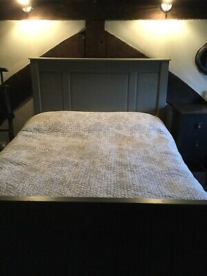 """Shabby chic 4ft 6"""" French double bed frame. Painted grey by seller."""