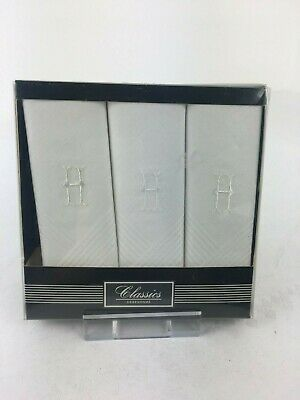 3 Boxed Initialled H  Cotton Handkerchiefs Men's