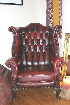 Chesterfield Queen Anne High Back Wing Chair in Ox Blood Antique Leather
