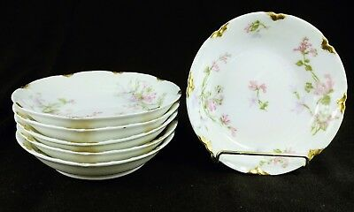 "Haviland Limoges Schleiger 36D Fruit Bowls 5 1/8"" Pink Lavender Flower *Set of 6"