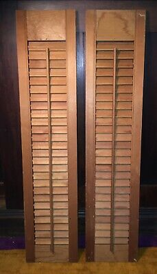 """Vintage Louver Wood Shutters 32"""" by 7"""" Set of 2"""