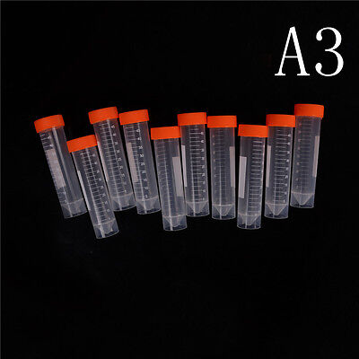 10Pcs 50ml Plastic Centrifuge Tube Pipe Vial Lab Test Container With 4 Bot A- GX