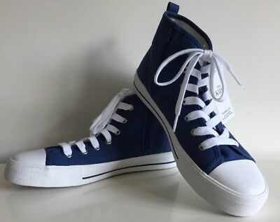 M&S Kids Boys Girls Blue Canvas Trainers High Top Sneakers Side Zip Bnwt Size 7