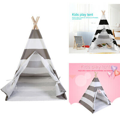 Cotton Canvas Kids Teepee Tent Children Wigwam Indoor Baby Playhouse Indian Tipi