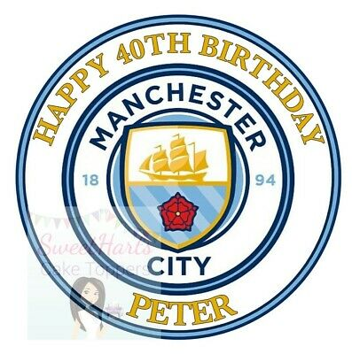 Manchester City Cake Topper Round Personalised Edible Icing Cake Decoration