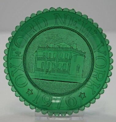 Vintage Oxford Memorial Library New York Pairpoint Cup Plate Green 1976