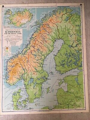Philips Regional Wall Map Of Scandanavia And The Baltic Lands, 1956