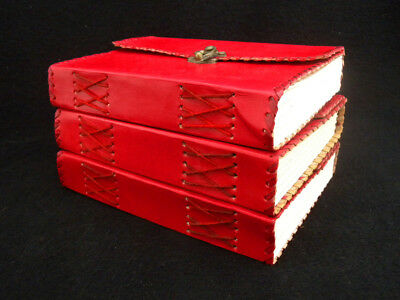 Bargain Set of THREE A5 Handmade Leather Journals - New,  but SECOND Quality