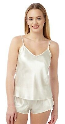 Ladies BHS Satin Reversible Round Neck or V-Neck Camisole Tops Ivory 10 & 18