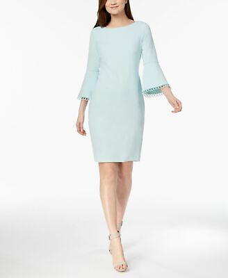 3466b6e94060 $150 Calvin Klein Women's Blue Bell-Sleeve Casual Sheath Dress Dress Size 2P