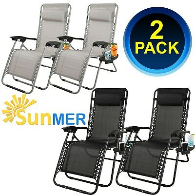2 X Zero Gravity Folding Sun Lounger Chairs Tray Phone Holder Outdoor Recliner