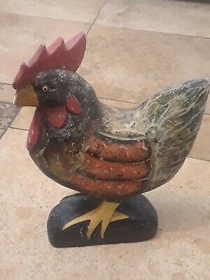 Vintage Rustic Folk Art  Carved & Painted Wooden Rooster - Chicken