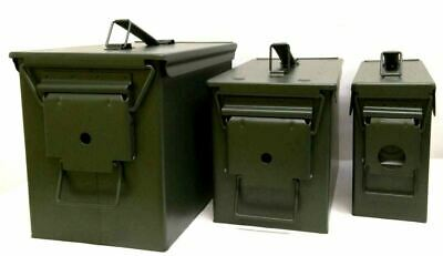 Brand New Metal Ammo Box Storage Tin Army Ammunition Tool Box Green Waterproof