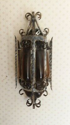 Vintage Mid Century Wall Hanging Porch Light Wrought Iron Black and Amber Glass