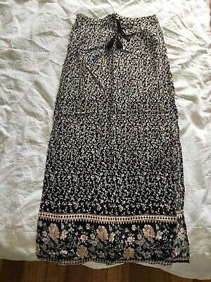 Myer Miss Shop Size 8 Maxi Skirt Womens Floral Pink Blue Black White Long Cute