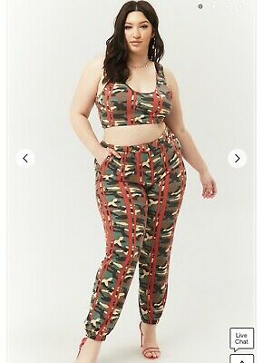 d5a2c5f9962f5c FOREVER 21 PLUS size camo lace up stretchy legging/pants 1x WILL NOT ...