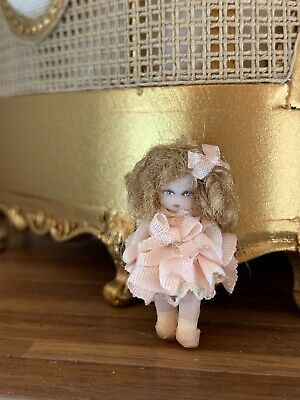 """Vintage 3/4"""" Miniature Dollhouse Porcelain French Doll Jointed Silk Dress Shoes"""