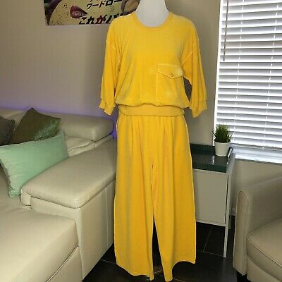 b41b1ee0b80 Vtg Sonia Rykiel Velour Knit Set Pants Top Yellow L Casual 80s Made in  France