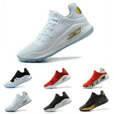 watch aacbc afd74 2019 Playoff Curry 4 Stephen Rock Mens Basketball Trainers Shoes White  Sneakers