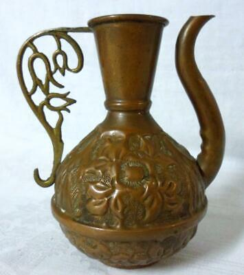 Arts & Crafts Hammered Copper Brass Cruet Pitcher Pot