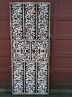 AWESOME Vintage Wrought Iron Room Divider Wall Panel Garden Decor Roses Vines