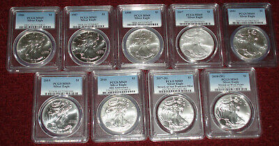 (9) 1986 1987 1995 2007 2012 2015-2018 1oz American Silver Eagle PCGS MS69 LOT