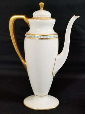 Antique Lenox Oval Coffee Pot, Enamel Jewels & Gold, Green Mark Early 20Th C.