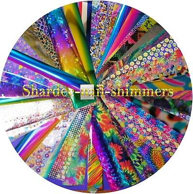 Nail art transfer foils, 1 meter each iridescent holographic pink purple silver