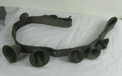6 Antique Brass Sleigh or Harness Bells old Leather Strap
