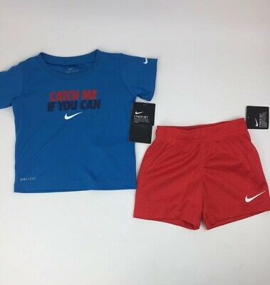 Baby Toddler boys NIKE DRI-FIT 2 piece set NEW T-Shirt Shorts Blue Red White 18M
