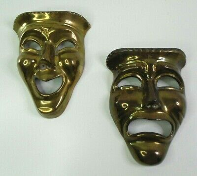 "Vtg Smile Now & Cry Later Brass Masks Lrg 6"" Heavy Wall Plaques Theater Faces"