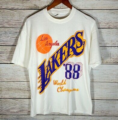 0b868a59e564 Vtg 80s Los Angeles Lakers 1988 World Champions T-Shirt White Size Large  Fits M