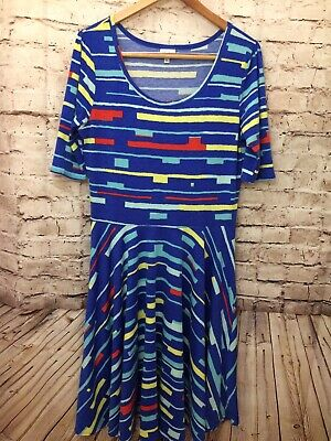 Lularoe Womens Royal Blue Short Sleeve Flare Dress XL Extra Large Stretch