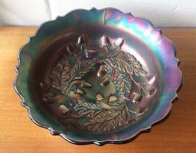 Antique vintage Fenton IRIDESCENT BLUE CARNIVAL GLASS BOWL - ACORNS
