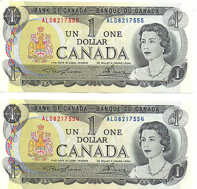 Canada $1.00 Dollar Bills (TWO) Crisp Uncirculated 1973